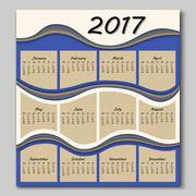Abstract waves calendar 2017 year Stock Illustration
