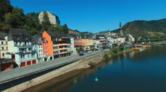 Cochem, Germany aerial view over the Moselle River - stock footage