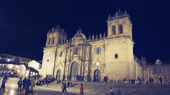 Night shot of the cathedral of cusco in peru Stock Footage