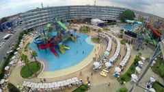 Aqua park resort is summer attraction in famoust Sunny beach in Bulgaria Stock Footage