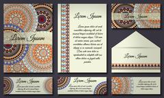 Invitation card collection. Vintage decorative elements. Hand drawn backgroun Stock Illustration