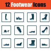Set of footwear icons Stock Illustration
