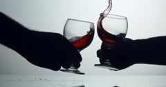 Celebration Wine Glass Clink : Slow Motion Stock Footage