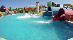 Aquapark tube rides is summer attraction in Sunny Beach, Bulgaria, SLOW MOTION Stock Footage
