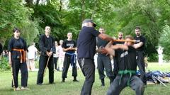 4K Japanese Ninji tsu Martial Art self-defense Kung fu fighting demonstration Stock Footage