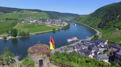 A view of the Moselle River wine region from Beilstein, Germany Stock Footage