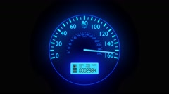 Speedometer fast car automobile speed dashboard accelerate mph kph light 4k - stock footage