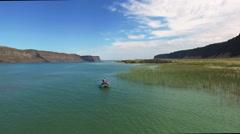 Man fishing on the lake Stock Footage