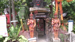 Entrance Statues at Hell Temple Stock Footage