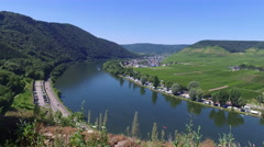 The Moselle River in Germany's wine country Stock Footage
