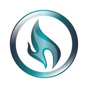 blue flame icon - stock illustration