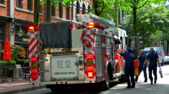 4K Fire Truck Emergency Vehicle, Red Lights Flashing, Firemen Stock Footage