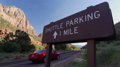 Shuttle parking sign Stock Footage