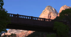 Bridge in Zion with people Stock Footage