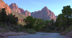 Virgin river and cliffs Stock Footage