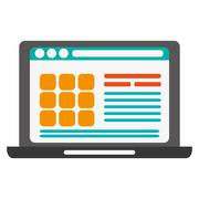 Laptop frontview with webpage on screen icon Stock Illustration