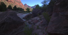 Virgin river pan from rocks Stock Footage