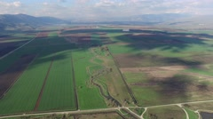 Hula Valley- Agriculture fields & Hula Nature Reserve (Israel aerial footage) Stock Footage