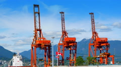 4K Three Large Shipping Cranes, Freight Cargo Container Port, Freight Industry Stock Footage