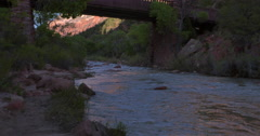 Zion river tilt up Stock Footage