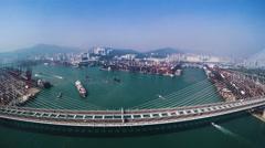 Hong Kong Container Port. Hong Kong 4K Aerial Top View. Arkistovideo