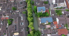 UAV aerial view of Tile-roofed house and river in Suzhou, China Stock Footage
