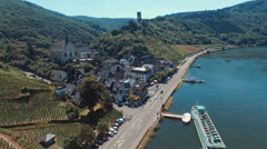 The town of Beilstein, Germany along the Moselle River in wine country Stock Footage