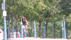 Scorching heatwave on city streets and sidewalks on hot summer day Stock Footage