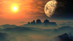 Bright Sunrise Over The Misty Planet Aliens Stock Footage