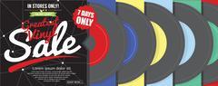 Greatest Vinyl Sale 500x600 Pixel Banner Vector Illustration Stock Illustration