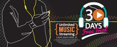 30 Days Free Trial Music Streaming 1500x600 Banner Vector Illustration Stock Illustration