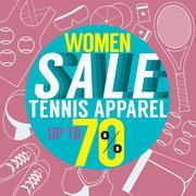 Women Sale Tennis Apparel Vector Illustration Stock Illustration