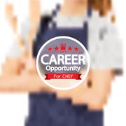 Career Opportunity For Chef Badge With Blurred Background Vector Illustration Stock Illustration