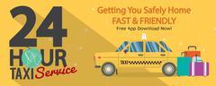 24 Hour Taxi Service 1500x600 Pixel Banner Vector Illustration Stock Illustration