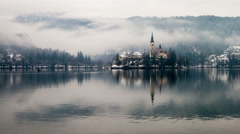 Bled lake in the morning Stock Footage