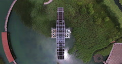 UAV aerial waterwheel in Suzhou River, China Stock Footage