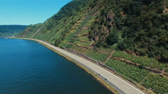 Cliff side vineyards in Germany Stock Footage