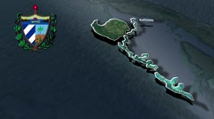 Isla de la Juventud with Coat Of Arms Animation Map - stock footage