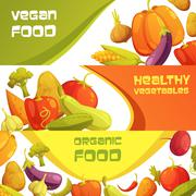 Fresh Organic Vegetables Horizontal Banners Set Stock Illustration