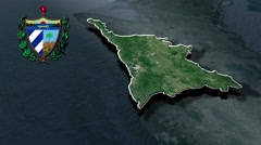 Santiago de Cuba with Coat Of Arms Animation Map - stock footage