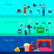 Filmmaking Movie Release 3 Flat Banners - stock illustration