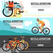 Biking Adventure Horizontal Banners Stock Illustration
