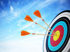 Three arrows hit at the center of the target. 3D illustration Stock Illustration