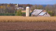 Wide shot of Wisconsin farms and barns farms of Door County. Stock Footage