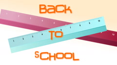 Back to school animation with rulers and scissors Stock Footage