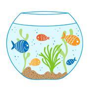Aquarium doodle seamless pattern. Stock Illustration