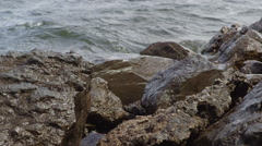 Waves Crashing on Rocks Near Lake During Cloudy Summer Day Stock Footage