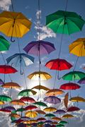 Installation from multicolored umbrellas in the park of the city of Astana, K Stock Photos