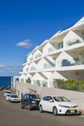 Modern apartments across the road at Bondi Beach, Sydney Stock Photos