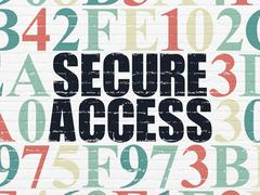 Security concept: Secure Access on wall background - stock illustration